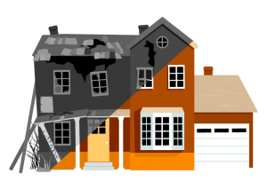 Flipped house graphic concept