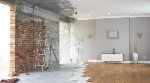 Renovation interior with bright windows